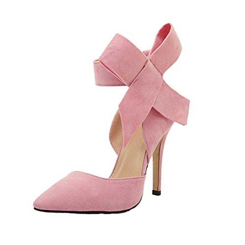 Pumps Tie Women A HUHU833 with Bow Sharp Big Plus Fashion Pink Size Stilettos Toe wxx4IHY