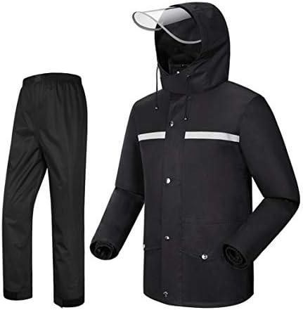 レインコート メンズ フード付き レインスーツ メンズ 防水 サイクリング オートバイ ライディング ゴルフ (レインジャケットとレインパンツのセット) ブラック M LAXF-2018
