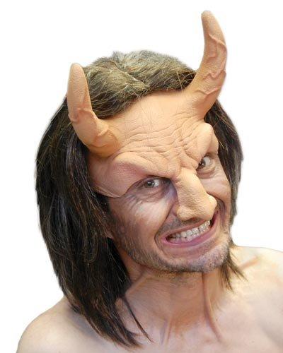 Zagone Devil Flesh Mask, Male Demon with Horns -