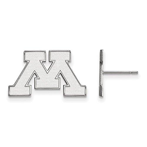10k White Gold LogoArt Official Licensed Collegiate University of Minnesota (UMN) Small Post Earrings by LogoArt