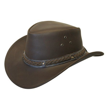 Down Under Leather Hat Brown Large