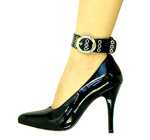 "MicheleX 8040 Black PVC 4.5"" High Heel Thick Ankle Strap 3 Eyelets Court Shoes"