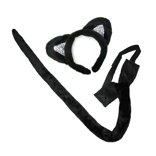 amazoncom deluxe black cat ears costume accessory set halloween costume kit stc12003 clothing - Accessories For Halloween Costumes