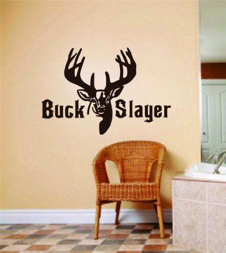 Buck Slayer Letters With Deer / Buck Head Image Animal Hunting Hunter Man With Gun picture Art – Boys Kids Bed Room Sports Hobbies – Peel & Stick Sticker - Vinyl Wall Decal - Size : 6 Inches X 12 Inches - 22 Colors Available (Hunting Decor For Kids Room)