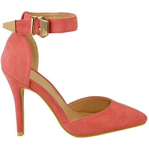 Rosa Ante Aguja Zapatos De Punto Del Tacn Clsicos Tobillo Nmeros Varios Tira En Mujer Alto Sandalias Dedo Pie Coral UwqSwy8a7