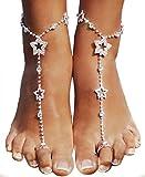 Bienvenu 2 PCS Beach Anklet Chain Bracelet Barefoot Sandals Wedding Foot Jewelry, Silver_Style 1