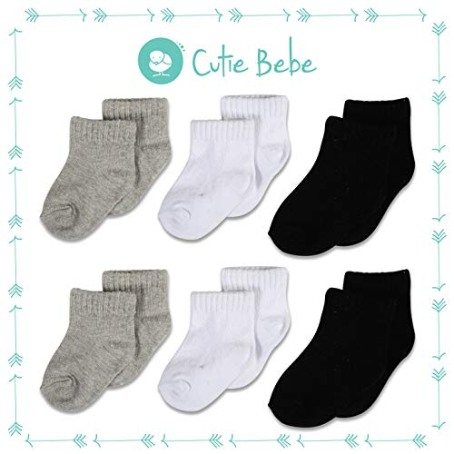 lor Crew Socks, Boys or Girls Sizes Newborn Infant to Toddler, 6-Pack, White/Gray/Black by Cutie Bebe ()