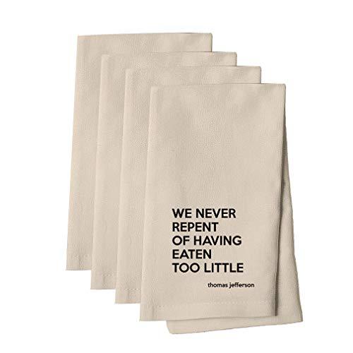 Eaten Too Little (Thomas Jefferson) Cotton Canvas Dinner Napkin, Set of 4