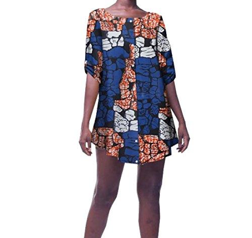 Vska Women Africa Dashiki Casual Plus Size Shirt Baggy Retro Top Blouse 1 XS by Vska
