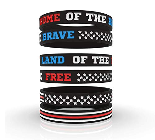 (USA Flag American Pride & Fourth of July Independence Day Silicone Motivational Wristbands | Inspirational Rubber Bracelets for Veterans Patriots Americana Hero Icons | Unisex Men Women Teens (12pack))