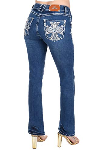 Sexy Couture/Rooky Diva Women's Rhinestone Mid Rise Bootcut/Skinny Blue Stretchy Denim Jeans Pants (13, Sexy Couture S546-PB Blue -