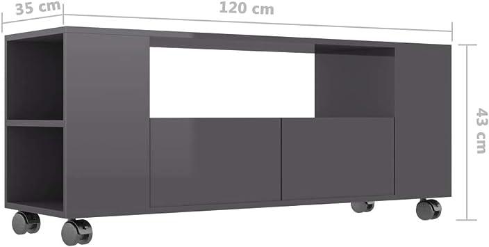 vidaXL Mobile Porta TV Armadietto Basso Unit/à Multimediale Credenza Buffet Arredo Madia Consolle Mobiletto in Truciolato Grigio Lucido 120x35x43 cm