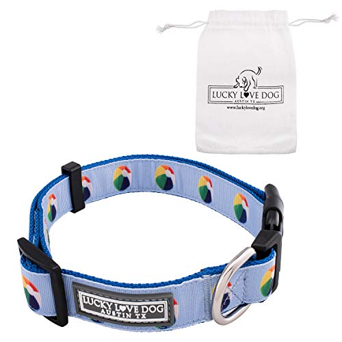 Lucky Love Dog Cute Beach Ball Collar, Custom, one of a Kind, Your Purchase Helps Save a Shelter Dog, Regular Collar, Durable, Fashionable Collar (Medium)]()
