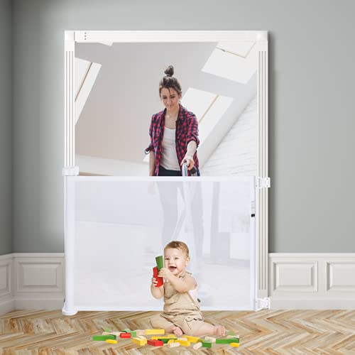 """41jQTIECcZS Retractable Baby Gate,Abaook Mesh Retractable Safety Gate for Stairs, Extra Wide Safety Baby Gate 34"""" Tall, Extends to 54"""" Wide, Dog Gate for doorways,Stairs,Hallways,Indoor/Outdoor (White)    Product Description"""