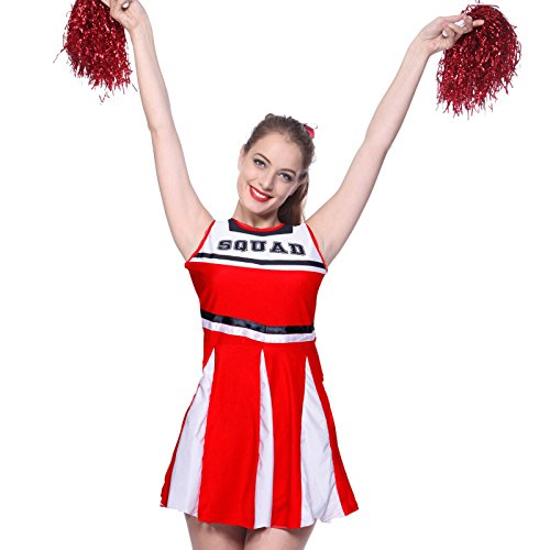 Anladia Womens High School Musical Cheerleader Girls Uniform Costume Outfit With Pompoms (M US 6 8, Red) for $<!--$10.99-->