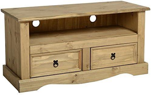Simple y tradicional Corona madera de pino maciza 2 cajones mueble para televisor plano - perfecto para