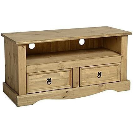 Simple y tradicional Corona madera de pino maciza 2 cajones mueble ...