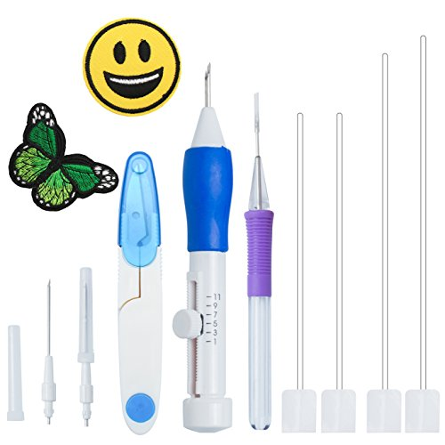 Magic Embroidery Pen Punch Needles - BoChang Magic Embroidery Pen Set Embroidery Kits Punch Needle Kit Knitting Sewing Tool for Embroidery DIY Threaders Sewing ()