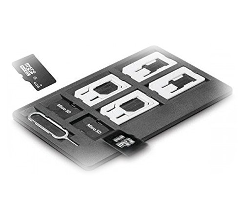 Slim Universal SIM Card Case, Storage Holder 4 SIM Card, 2 MicroSD memory cards and Iphone pin ? including 6 sim card Adapters 1 Iphone Eject Pin