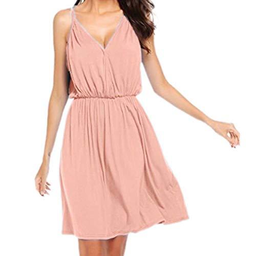♖Loosebee♜ Women's Sleeveless Loose Sling Dress Casual Short Dress Pink