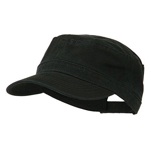 Garment Washed Adjustable Army Cap - Black