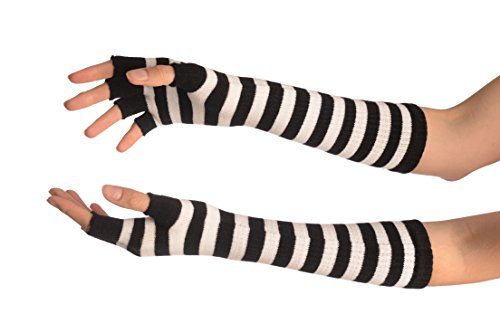 White & Black Stripes Fingerless Gloves - Blanc Gants Taille Unique (28 cm)