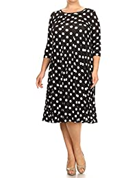 Women's Plus Size Polka-Dot Patterned Basic Shirt Dress Made in USA