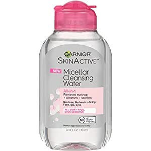Garnier SkinActive Micellar Cleansing Water All-in-1 Cleanser & Makeup Remover, Travel Size, 3.4 fl. oz.