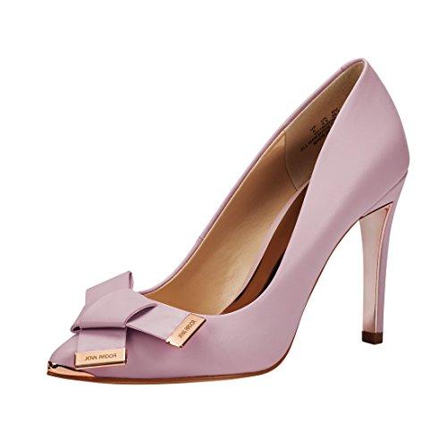JENN ARDOR Women's Stiletto High Heel Pumps Pointy Toe Leather Bowknot Slip On BridalWedding Shoes - Pointy High Heel Pump