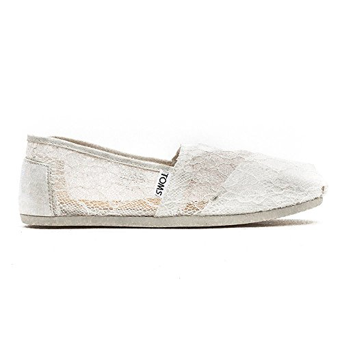 Toms Womens Classic Lace White Fabric Flat Shoe - 6M gqKsfIohU