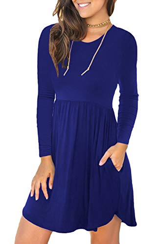 Unbranded* Women's Long Sleeve Loose Plain Dresses Casual Short Dress with Pockets Royal Blue Large ()