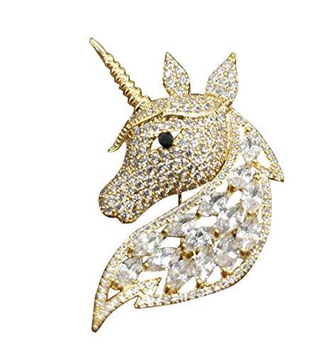 (Women Rose Flower Camellia Unicorn Horse Brooch Pin Rhinestone Inlay Crystal (C Unicorn Horse Animal Gold))