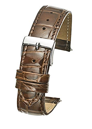Genuine Leather Padded Stitched Watch Band Strap in Shiny Alligator Grain Finish - 18mm - Brown ()