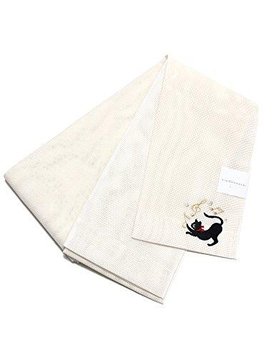 分割動物園びっくり[ 京都きもの町 ] 夏 半幅帯 生成り 猫 細帯 半巾帯