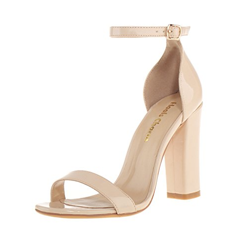 7 Inch High Heel Sandals (Women's Strappy Chunky Block Sandals Ankle Strap Open Toe High Heel for Dress Wedding Party Evening Office Shoes Patent Leather Nude Size)