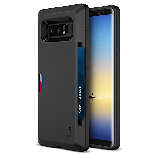 Trianium Galaxy Note 8 Wallet Case - Walletium Series Dual Layer Credit Card Wallet for Samsung Galaxy Note 8 2017 - Black [Protective Enhanced Grip Holder Cover] (TM000233)