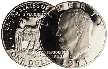 Dollar Eisenhower 1971 - 1971 S 40% Silver Ike Eisenhower Dollar Gem Proof Condition