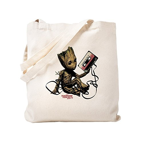 CafePress GOTG Groot Cassette Natural Canvas Tote Bag, Cloth Shopping Bag