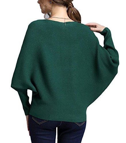 Damas Párrafo Corto De Manga Larga De Cuello De Punto Jersey Suéter Capa De Murciélago Green