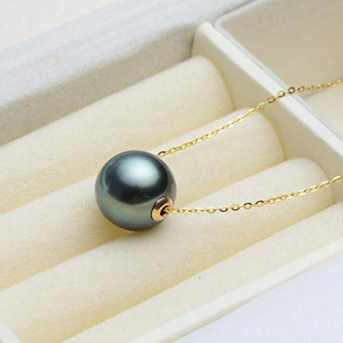 (Fashion Jewelry@ 18k Yellow Gold Tahitian Black Seawater Pearl Pendant Necklace 9-10mm Round AAAA for Women)