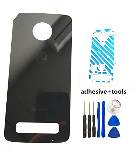(Rear Battery Back Cover Glass Replacement for Motorola Moto Z3 XT1929-17 XT192917 Verizon Back Cover Door Housing Replacement Parts with Sticker Tools Black (Verizon Black))