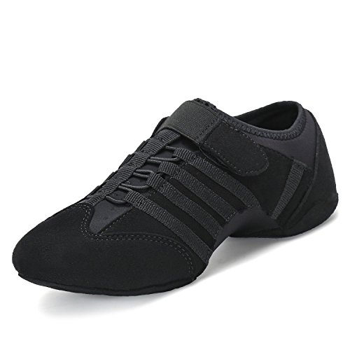 SAGUARO Women Dance Shoes Lady Jazz Sneakers Split-Sole Aerobic Ballet Zumba Hip Hop, Suede Black by SAGUARO