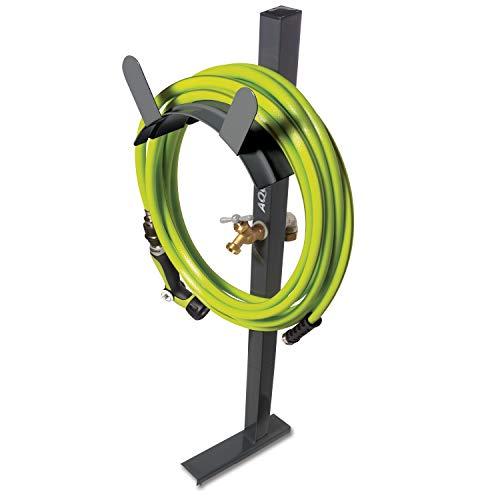 Aqua Joe SJ-SHSBB-GRY Free Steel Garden Hose Stand with Brass Faucet, w/Quick Install Anchor Base (Holder Hose Free Standing)