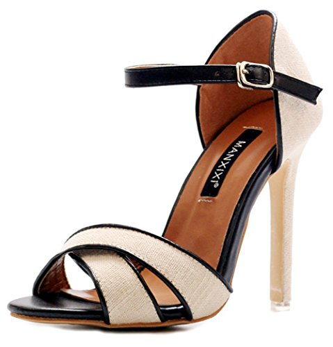 Easemax Womens Trendy Canvas Contrasting Color Ankle Buckle Strap Open Toe High Chunky Heel Sandals Apricot ELkRq0Ohr