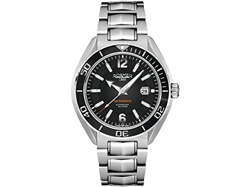 Roamer Searock Pro Men's Quartz Watch with Black Dial Chronograph Display and Silver Stainless Steel Bracelet 211633 41 54 20