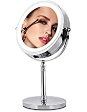 Makeup Mirror with Lights,10X Magnifying Mirror LED Lighted Vanity Mirror,7 Inch Polished Chrome Finish,Rotates 360 Degrees, Double Sided Round Mirror.