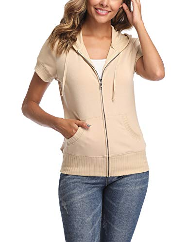 MISS MOLY Hoodie Zip up Short Sleeve Jacket for Women Round Neck Summer Coat (Apricot, Large) ()