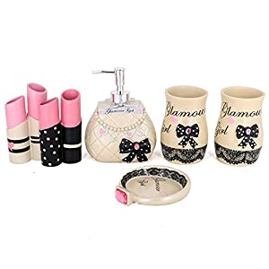 Blue Donuts Bathroom Accessories Set Rose Gold and White 4 Piece Toothbrush Holder Soap Dispenser