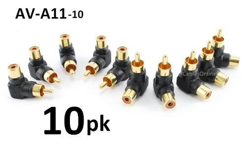 CablesOnline 10-PACK RCA Male Plug to RCA Female Right-Angle Gold-Plated Adapter