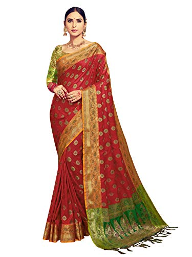 - Sarees for Women Banarasi Kanjivaram Art Silk Woven Saree l Indian Ethnic Wedding Gift Sari with Unstitched Blouse Maroon